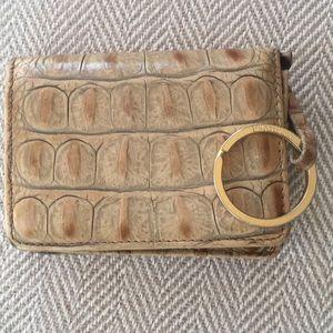 Vintage Brahmin mini wallet cards key chain tan